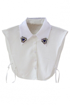 White Charming Ladies Beading Half Shirts Blouse Fake Collar