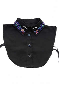 Black Womens Turndown Collar Half Shirts Blouse Beading Fake Collar