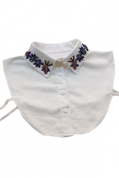 White Womens Turndown Collar Half Shirts Blouse Beading Fake Collar