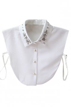 White Modern Womens Rose Beading Half Shirts Blouse Fake Collar