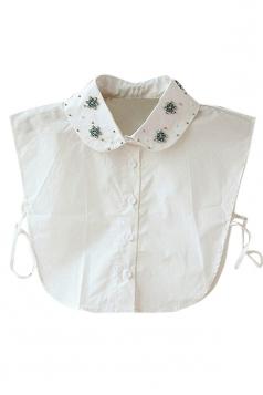 White Ladies Turndown Collar Beaded Half Shirts Blouse Fake Collar