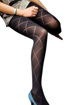 Black Pretty Ladies Argyle Plaid Jacquard Velvet Tights