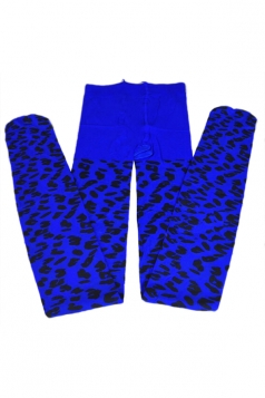Blue Sexy Womens Leopard Printed Jacquard Velvet Tights