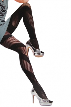 Black Sexy Ladies Oblique Stripes Jacquard Velvet Tights