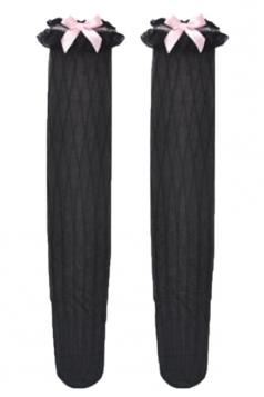 Black Trendy Womens Lace Bowknot Stripes Long Stockings