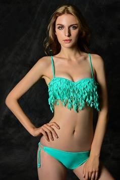 Green Charming Ladies Solid Leaf Fringe Bikini