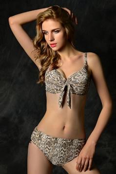 Gray Sexy Womens Snakeskin Printed Animal Print Bikini