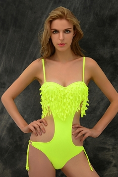 Yellow Sexy Womens Strap Solid Floral Fringe Monokini