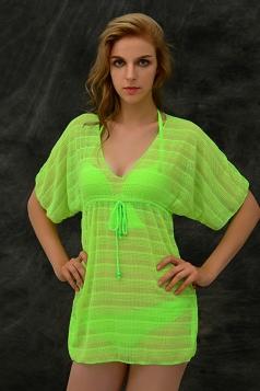Green Sexy Ladies Chic Stripe Sheer Summer Beach Dress