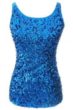 Womens Slimming Crew Neck Sleeveless Sequined Tank Top Blue