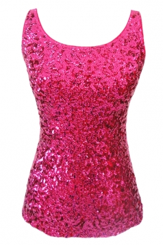Womens Slimming Crew Neck Sleeveless Sequined Tank Top Rose Red