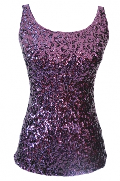 Womens Slimming Crew Neck Sleeveless Sequined Tank Top Purple