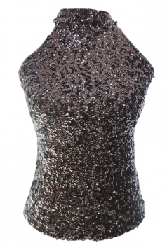 Black Charming Ladies Sleeveless Sequined Halter Top