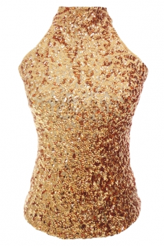 Gold Charming Ladies Sleeveless Sequined Halter Top