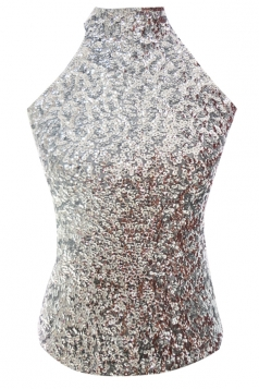 Silvery Charming Ladies Sleeveless Sequined Halter Top