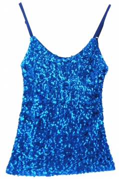 Blue Slimming Ladies Sleeveless Strap Sequined Camisole Top