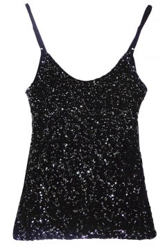 Black Slimming Ladies Sleeveless Strap Sequined Camisole Top