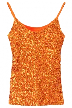 Orange Slimming Ladies Sleeveless Strap Sequined Camisole Top