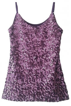 Purple Slimming Ladies Sleeveless Strap Sequined Camisole Top