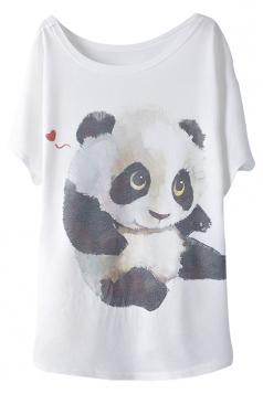 White Cute Panda Printed Womens Loose Funny T-shirt