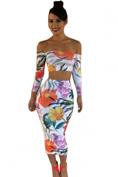 White Floral Printed Off Shoulder Crop Top &  Sexy Womens Skirt Suit