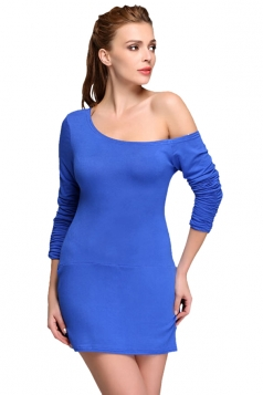 Blue Bias Collar Long Sleeve Sexy Ladies Bodycon Dress