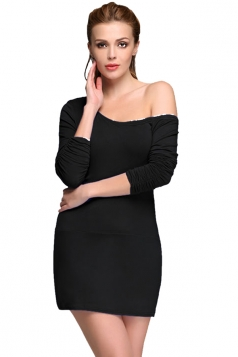 Black Bias Collar Long Sleeve Sexy Ladies Bodycon Dress