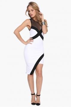 White Irregularly Bodycon Slim Sexy Ladies Tank Dress