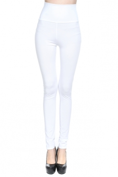 White Plain High Waisted Slim Womens Leggings