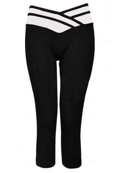 White V High Waisted Sexy 3/4 Length Womens Leggings