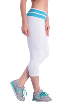 Blue V High Waisted 3/4 Length Color Block Ladies Leggings