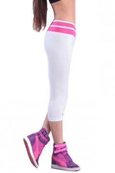 Pink V High Waisted 3/4 Length Color Block Ladies Leggings