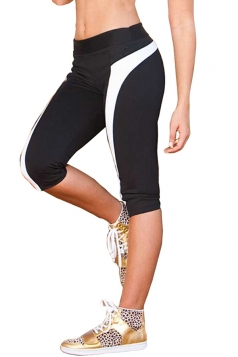 White Color Blocking 3/4 Length Fashion Womens Leggings
