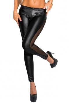 Sexy Patchwork See Through Mesh Leggings Black