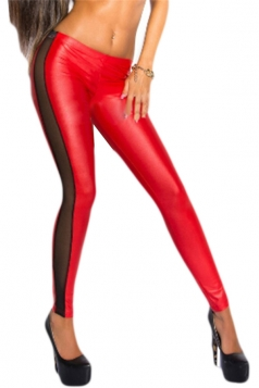 Sexy Patchwork See Through Mesh Leggings Red