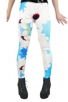 Sexy Imitaion Jesns Tattoo Printed Leggings White