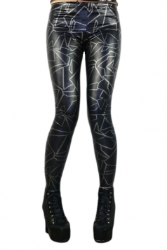 Sexy Imitation Leather Punk Rock Leggings Black