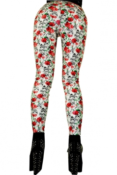 Sexy Skull Rose Printed Punk Leggings Red