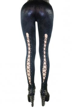 Sexy Punk Hollow Out Crop Jeans Leggings Black