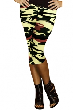 Leggings Womens 3/4 Length High Waisted Camouflage Coffee