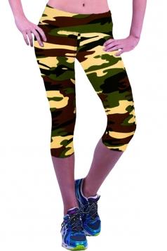 Leggings Womens 3/4 Length High Waisted Camouflage Green