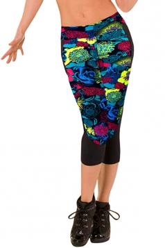Leggings Womens 3/4 Length Floral Printed Fashion Blue