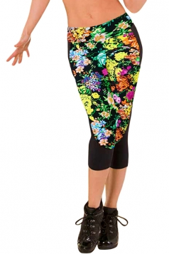 Leggings Womens 3/4 Length Floral Printed Fashion Green