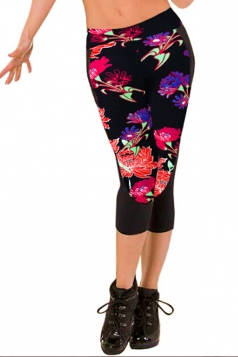 Leggings Womens 3/4 Length Floral Printed Fashion Red