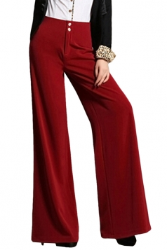 Red High Waist Buttons Bell Bottom Womens Leisure Pants