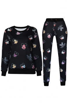 Black 3D Mickey Mouse Printed Pullover Sweatshirt Pants Suit