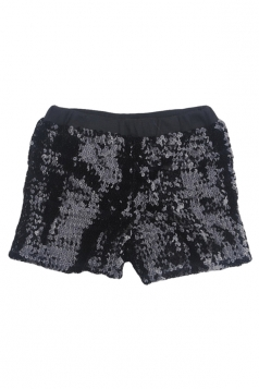 Mini Shorts Sexy Ladies Sequined Elastic Black