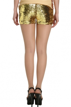 Mini Shorts Sexy Ladies Sequined Elastic Gold