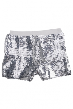 Mini Shorts Sexy Ladies Sequined Elastic Silvery