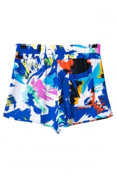 Mini Shorts Ladies Colorful Painting Printed Leisure Blue